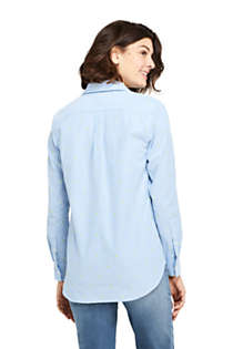 Women's Petite Oxford Boyfriend Embroidery Shirt, Back
