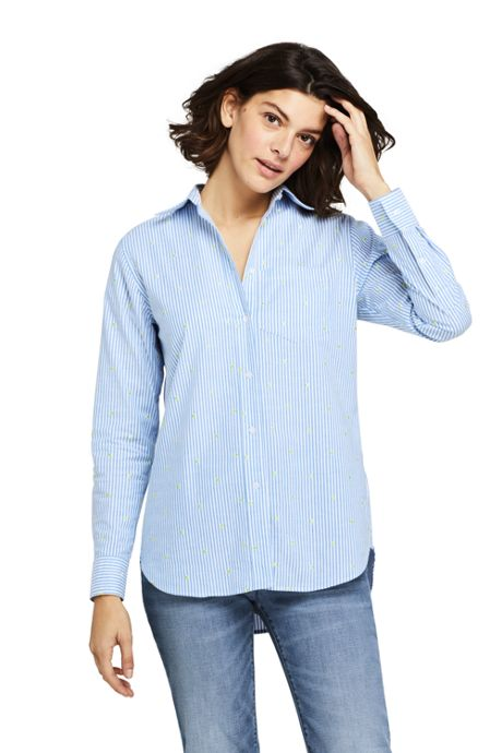 Women's Petite Oxford Boyfriend Embroidery Shirt
