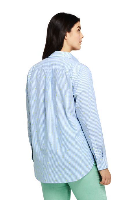 Women's Plus Size Oxford Boyfriend Embroidery Shirt