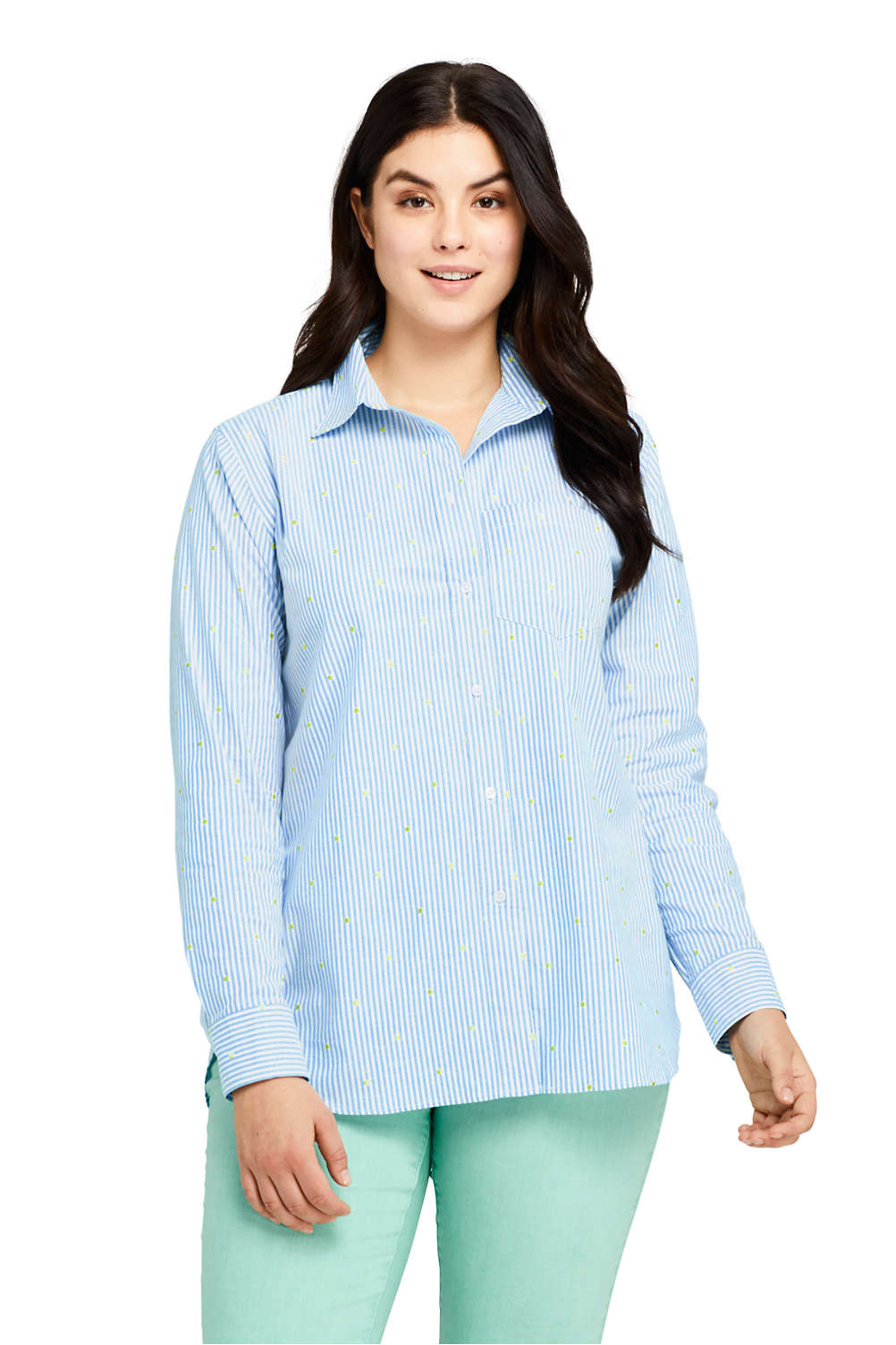 846898a752 Women S Plus Size Oxford Boyfriend Embroidery Shirt From Lands End. Tommy  Bahama Plus Size Boyfriend Shirt Cover Up White Swimwear