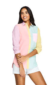 Women's Oxford Colorblock Boyfriend Shirt
