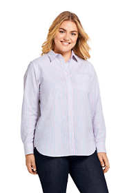 Women's Plus Size Oxford Boyfriend Stripe Shirt
