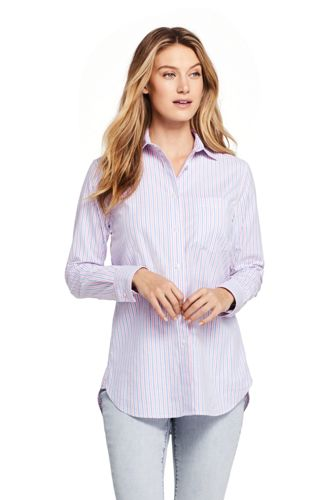 Chemise Oxford Stretch Rayée Coupe Boyfriend, Femme Stature Standard