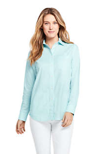Women's Petite Oxford Boyfriend Shirt, Front