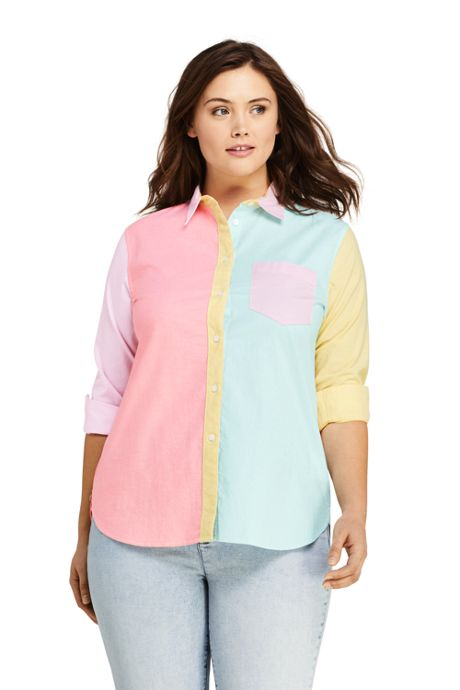 Women's Plus Size Oxford Colorblock Boyfriend Shirt