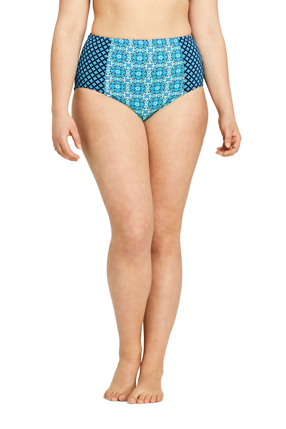 e4b6520c493 Women's Plus Size Retro High Waisted Bikini Bottoms Print from Lands' End