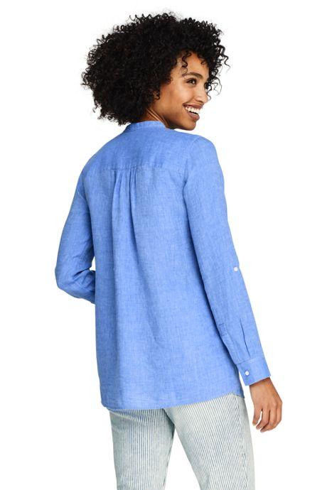 Women's Roll Sleeve Linen Tunic Top