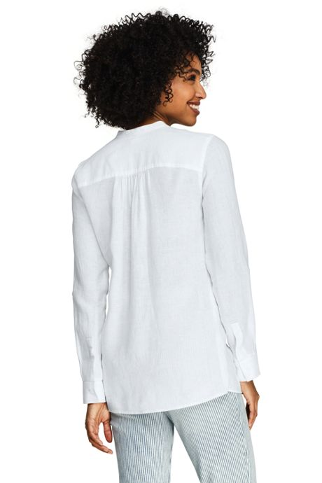 Women's Petite Linen Roll Long Sleeve Tunic Top