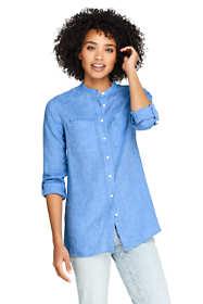 Women's Tall Roll Sleeve Linen Tunic Top