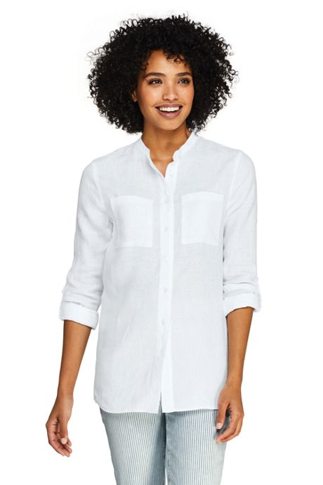 Women's Linen Roll Long Sleeve Tunic Top