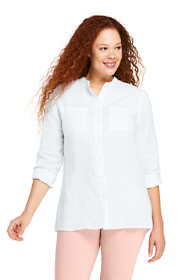 Women's Plus Size Linen Roll Long Sleeve Tunic Top