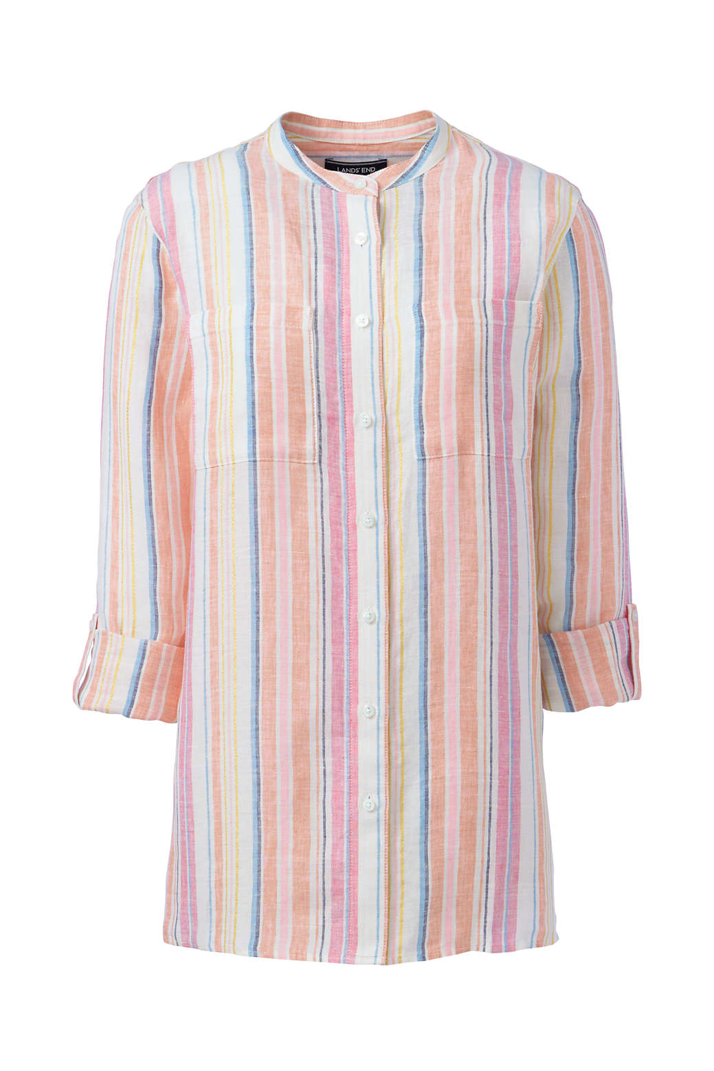 f316460ee Women s Plus Size Pattern Roll Sleeve Linen Tunic Top from Lands  End