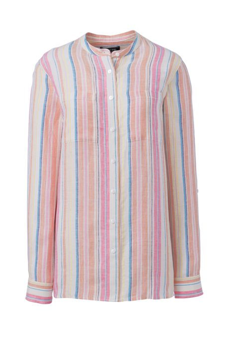 Women's Tall Pattern Roll Sleeve Linen Tunic Top