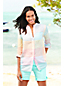 Women's Roll Sleeve Patterned Linen Tunic
