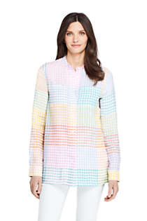 Women's Linen Roll Long Sleeve Tunic Top - Pattern, Unknown