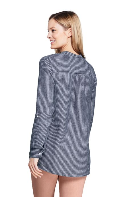 Women's Linen Roll Long Sleeve Tunic Top - Pattern