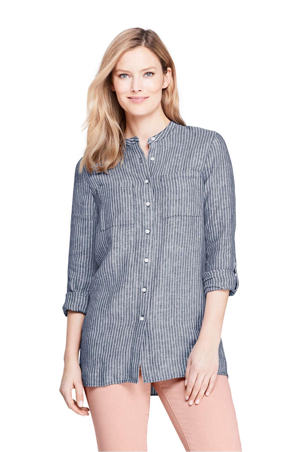 429f7d1b45 Women's Linen Roll Long Sleeve Tunic Top - Pattern from Lands' End