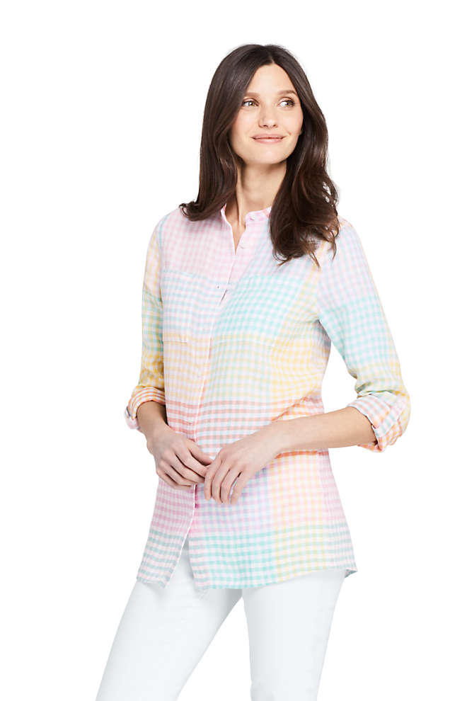 Women's Linen Roll Long Sleeve Tunic Top - Pattern, Front