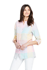 655ac3eda28 Women's Pattern Roll Sleeve Linen Tunic Top