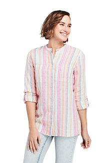 Chemise en Lin à Manches Longues et Motifs, Femme Stature Standard