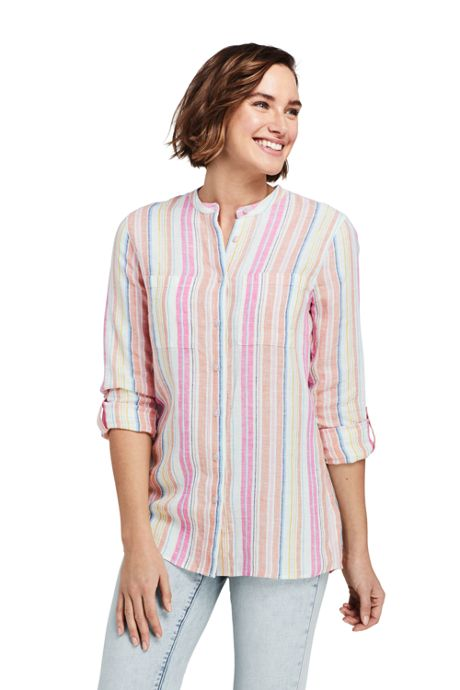 Women's Petite Pattern Roll Sleeve Linen Tunic Top