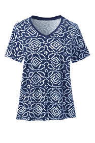 Women's Relaxed Fit Supima Cotton V-neck Short Sleeve T-shirt - Print