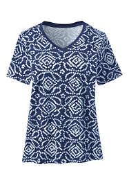 Women's Plus Size Relaxed Supima Cotton Short Sleeve V-Neck T-Shirt Print