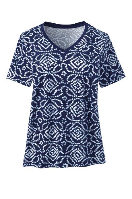 Women's Petite Relaxed Supima Cotton Short Sleeve V-Neck T-Shirt Print