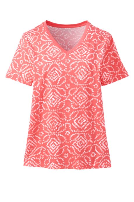 Women's Petite Relaxed Supima Cotton Short Sleeve V-Neck T-Shirt Print
