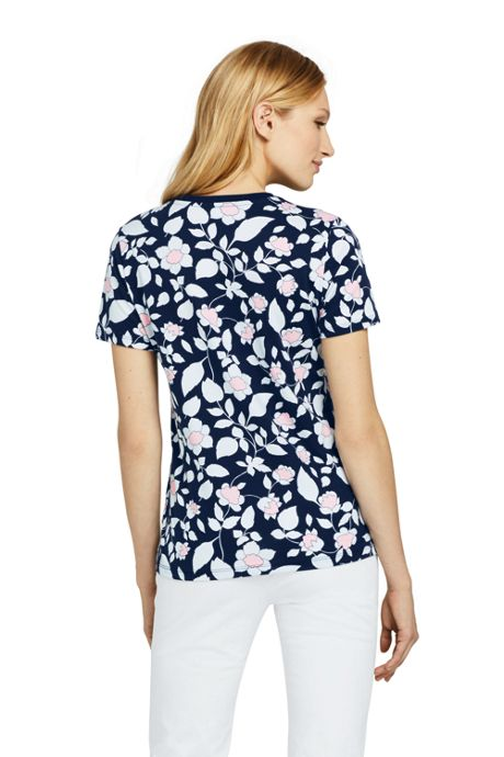 Women's Tall Printed Relaxed Short Sleeve Supima Cotton V-neck T-shirt