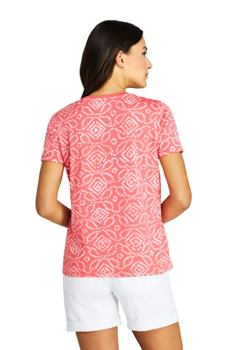 Women's Printed Relaxed Short Sleeve Supima Cotton V-neck T-shirt