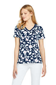 Women's Petite Printed Relaxed Short Sleeve Supima Cotton V-neck T-shirt