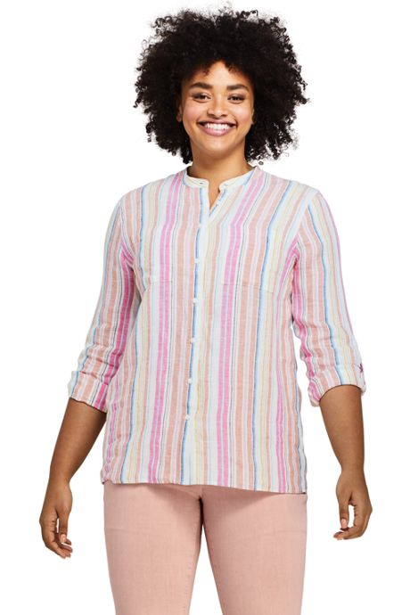 Women's Plus Size Pattern Roll Sleeve Linen Tunic Top