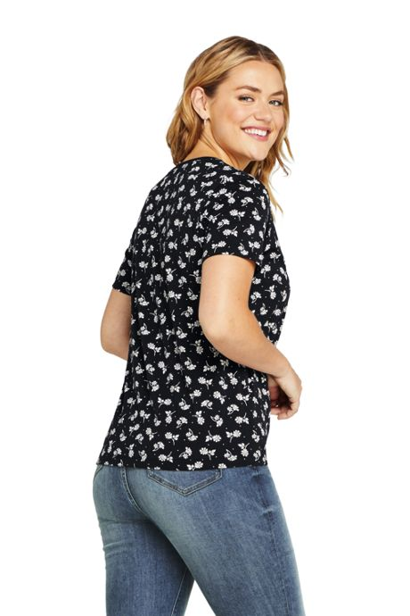 Women's Plus Size Petite Relaxed Fit Supima Cotton V-neck Short Sleeve T-shirt Print