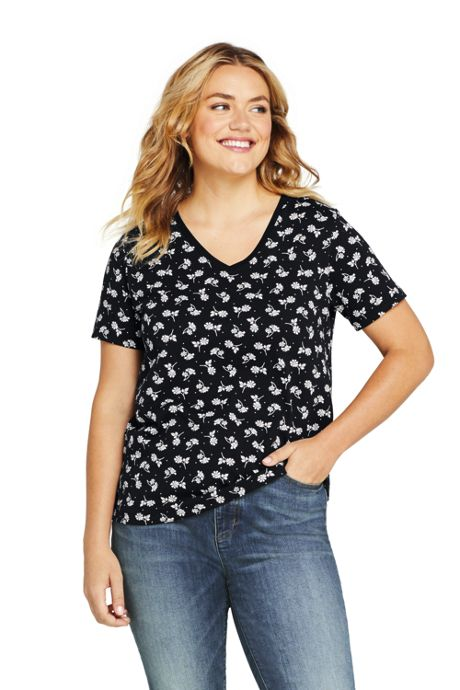 Women's Plus Size Relaxed Supima Cotton Short Sleeve V-Neck T-Shirt Print