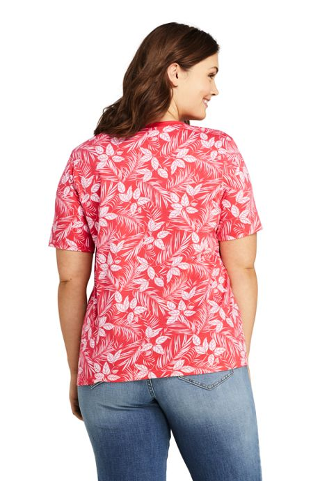 Women's Plus Size Petite Printed Relaxed Short Sleeve Supima Cotton V-neck T-shirt
