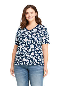 Women's Plus Size Printed Relaxed Short Sleeve Supima Cotton V-neck T-shirt