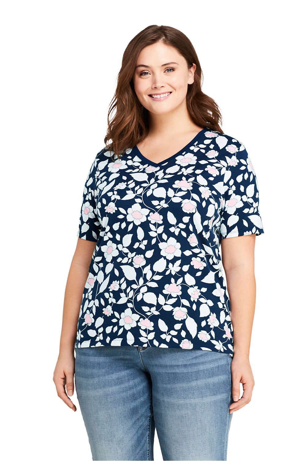 bced88458733 Women's Plus Size Relaxed Fit Supima Cotton V-neck Short Sleeve T-shirt  Print from Lands' End