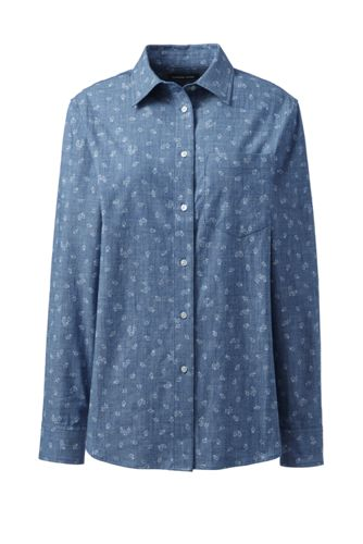 Women's Patterned Chambray Boyfriend Shirt