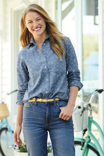 Chemise Chambray Stretch Coupe Boyfriend, Femme Stature Standard