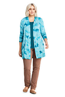 Women's Plus Size Lightweight Jersey Knit Long Cardigan Print, Unknown