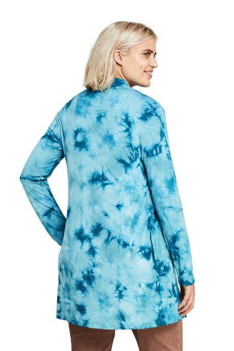 Women's Plus Size Lightweight Jersey Knit Long Cardigan Print