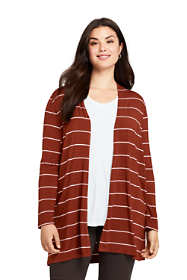 Women's Plus Size Lightweight Knit Long Cardigan - Print