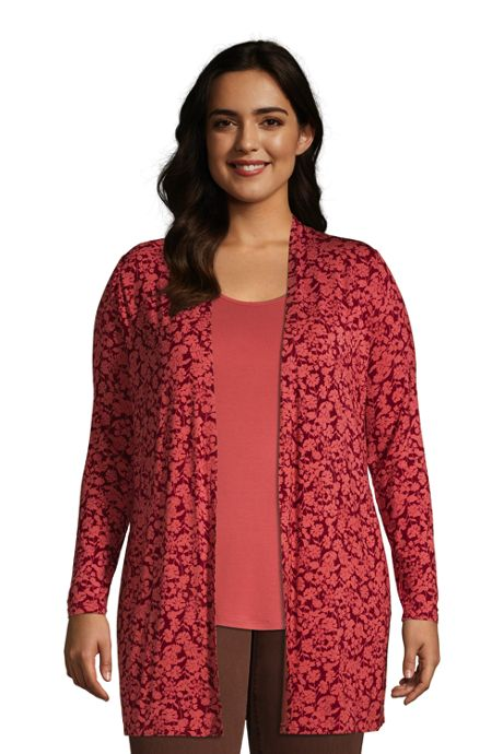 Women's Plus Size Lightweight Jersey Knit Long Cardigan Print