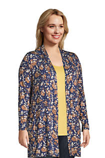 Women's Plus Size Lightweight Jersey Knit Long Cardigan Print, alternative image