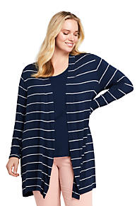 37c8d05d93ce7 Women s Plus Size Long Sleeve Stripe Knit Cardigan. Radiant Navy Wide Stripe   Bright Cherry ...