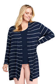 Women's Plus Size Long Sleeve Stripe Knit Cardigan