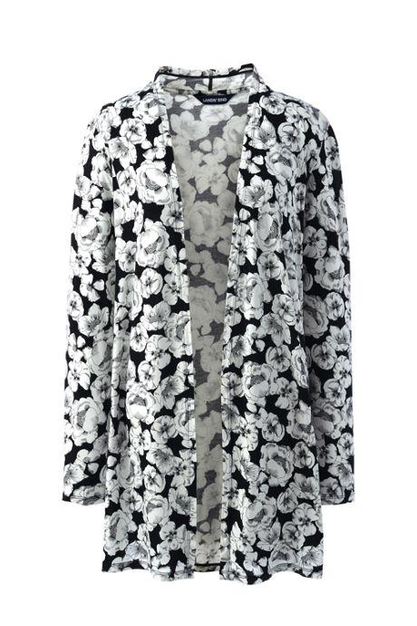 Women's Plus Size Long Sleeve Stripe Knit Cardigan