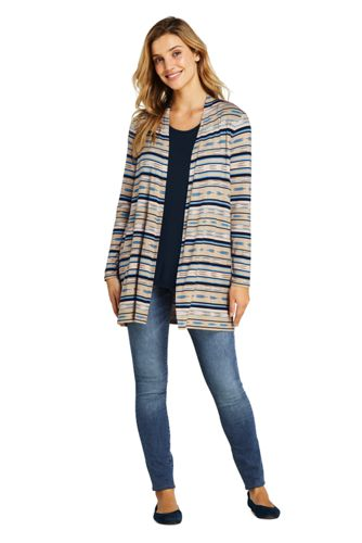 Women's Petite Lightweight Jersey Knit Long Cardigan Print