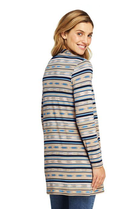 Women's Lightweight Jersey Knit Long Cardigan Print